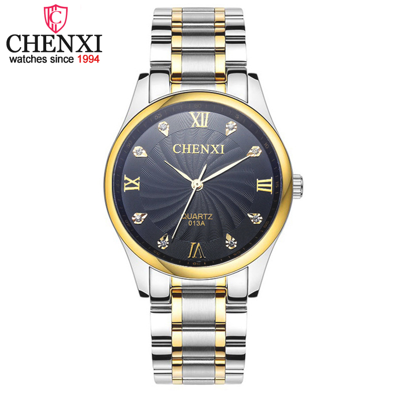 CHENXI Brand Men Fashion Luxury Quartz Watches Silver Stainless Steel Male Watch Noble Decoration Rhinestone Gift Clock Relogio<br><br>Aliexpress