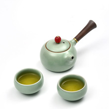 Ru Kiln Ceramic Porcelain Kung Fu Tea Set 1 Teapot 2 Teacup for Puer Black Tea Tea Pot Cup Kit Drinkware Home Decor Ornament