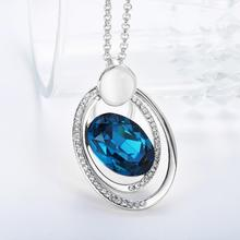 Women's Silver Plated Blue Zircon Pendant Necklace Chain New Fashion Fine Jewelry Wholesale Gifts Collection For Women N919-B