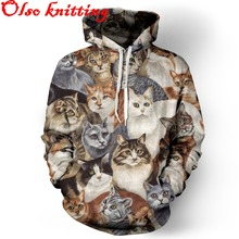 Harajuku 3D lovely cat print sweatshirts sudaderas mujer 2015 casual jogger female sporting hoodies with pocket casual tracksuit