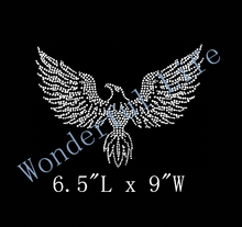 high quality free shipping  Flying Eagle Rhinestone Hot fix Iron on transfer BLING