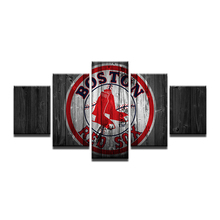 5 Pcs Boston Red Sox Sports Team Fans Poster Oil Painting On Canvas Pictures For Living Room Framed Modular Wall Paintings(China)