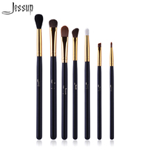 Professional 7pcs Black/Gold Jessup Brand Makeup Brushes Set Beauty Eyeshadow Concealer Blending Lip Cosmetics Make up Tools Kit(China)
