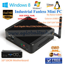 Smallest Industralia Fanless Mini Pc Intel J1900 2GHz Quad Core With Com Port Win7 / Linux / Windows Desktop Computers Mini PCs(China)