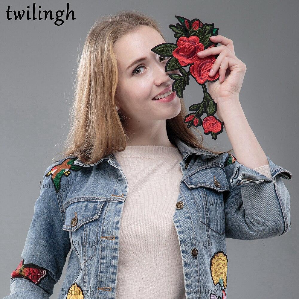 4 Pcs DIY Flower Plum Patch Embroidered Patch Sew On Patches Applique for Clothes Jackets T-Shirt Jeans Lace Appliques Decorative
