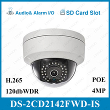 Hikvision Original DS-2CD2142FWD-IS 4MP POE IP Camera Day/night Infrared 3D DNR 3-axis adjustment IP67 IK10 Protection IP Camera