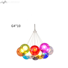 JW Modern Simple Colorful Glass Ball Pendant Lamps Glass Pendant Light for Living Room Restaurant Bedroom Home Lighting Fixtures(China)