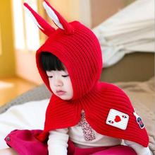 knitted Baby Coat Babe Cloak cute rabbit Outwear Floral Baby Poncho Cape Infant Baby Coat Children's Clothing(China)