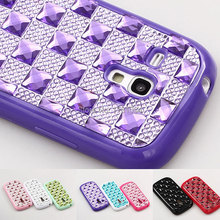 New Arrival Shiny Bling glitter pane jewel Diamond Resin TPU shockproof Case For Samsung Galaxy S3 III Mini i8190 Back Cover