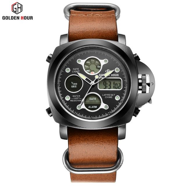 Outdoor sports Watches Brand Men Watch Waterproof Leather Quartz Analog Digital Watch Men LED Army Military Wristwatch relogio<br>