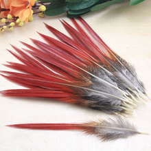 50pcs/lot Beautiful pheasant feathers red sword rare feathers bulk feather fly fishing tying accessories material 10-14CM(China)