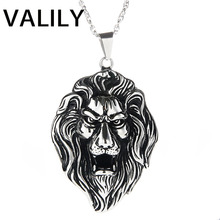 Men's  Hip Hop Big Lion Head Pendant Necklace,Luxury Stainless Steel Male Jewelry Friendship Gift,Party Gift