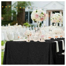 Shinybeauty 70x90in Rectangle Black Sequin Tablecloth 180*225cm Sequin Table Linen for Wedding/Party Decoration-a