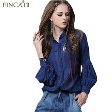 Women Blouses Shirt Fincati 2017 Spring Summer Erupean New Vintage 100% Silk Fabric Loose Blousees Casual  Puff Sleeve Blue Tops