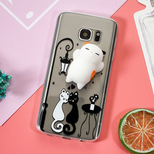For S8 S8+ Phone Case Finger Pinch Squishy 3D Silicon Squishy Cat TPU Protection Case for Samsung Galaxy J7 Prime S7 S7 Edge