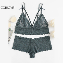 COLROVIE Scalloped Eyelet Detail Strappy Bra & Pantie Lingerie Set 2017 Lace Bow Sexy Women Underwear Ladies Stretchy Nightwear(China)