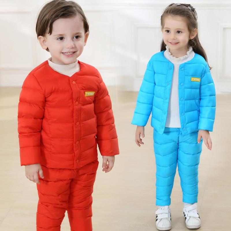 Fashion Winter Childrens Clothing Set Kids Ski Suit Overalls Baby Girls Cotton Coat Warm Snowsuits Jackets+ Pants 2pcs / Set<br><br>Aliexpress