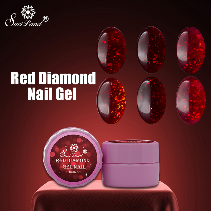 Saviland 8ml Elegent Red Diamond Hybrid Gel Nail Polish Long-lasting Soak LED Manicure Beauty Party Nail Art DIY Tools