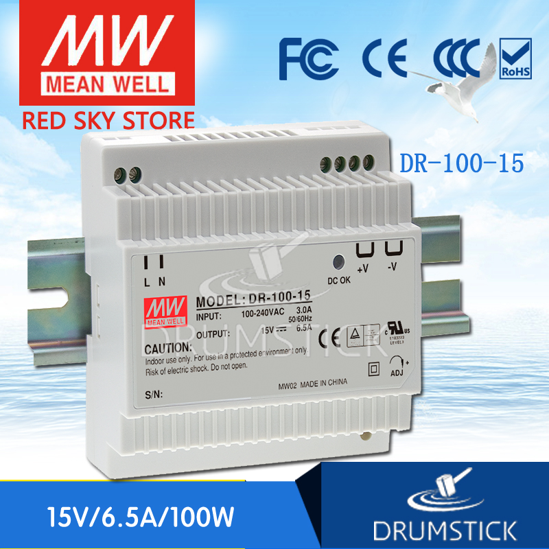 [Free shipping] MEAN WELL DR-100-15 2Pcs 15V 6.5A meanwell DR-100 15V 97.5W Single Output Industrial DIN Rail Power Supply<br><br>Aliexpress