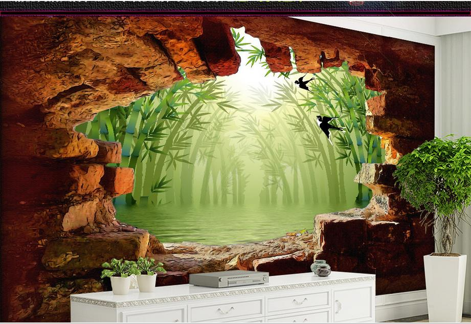 custom wallpaper for walls 3 d for living room Hole in the wall outside the Bamboo 3D backdrop mural Non-woven photo wallpaper<br><br>Aliexpress