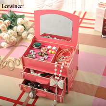 Leewince The organizers of the new DIY wood drawer fold the makeup mirror