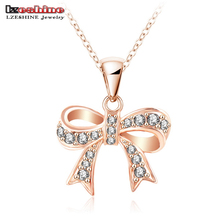 LZESHINE Bow Necklace Genuine SWA Elements Jewelry Rose Gold Color Austrian Crystal Necklaces Pendants NL0288-A