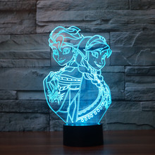 Princess anna & elsa The snowman olaf Night Light 3D LED Night Light Acrylic Colorful Gradient Atmosphere Lamp Novelty Lighting(China)