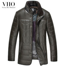 VHO winter army green/black motorcycle genuine leather jackets mink fur collar sheepskin men warm fashion real leather down coat(China)