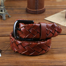 Buy Handmade knitted male strap fashion pin buckle casual strap genuine leather first layer cowhide belt for $31.32 in AliExpress store