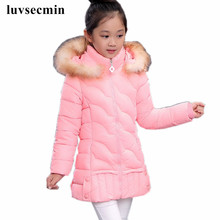 2017 Fur Hooded Baby Teenage Winter Jacket For Girls Cotton Down Parka Girls Winter Coat Long Warm Thick Kids Children's JW0822(China)