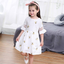Kids Little Girls Embroidery Floral Dress Summer Flare Sleeve Princess Dress Holiday Casual Costume Children's Clothing White(China)