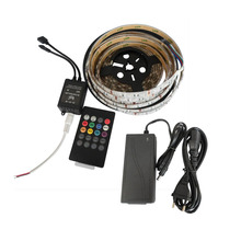 5mX Hot sales flexible 5050 RGB LED strip 300LEDs + new style IR music controller + power supply DC12V 6A free shipping(China)
