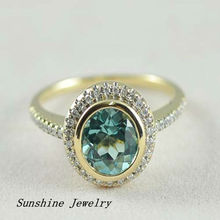 7.0mm Aquamarine 1.0ct 14K Solid Y/Gold 0.192ct Natural . Engagement Ring