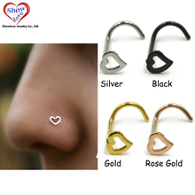 Showlove-4pcs Surgical Steel Hollow Heart Nose Screw Rings Studs Piercing Free Shipping(China)