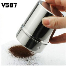 Chocolate Shaker Cocoa Flour Salt Powder Icing Sugar Cappuccino Coffee Sifter Lid Hot Sale Cooking Stainless Steel Tools