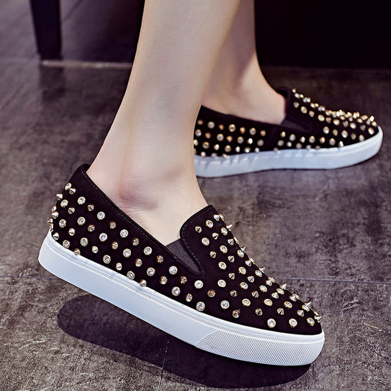 2017 New Spring Rivet Leather Shoes Woman Fashion Platform Ladies Shoes Casual Shoes Flat<br><br>Aliexpress