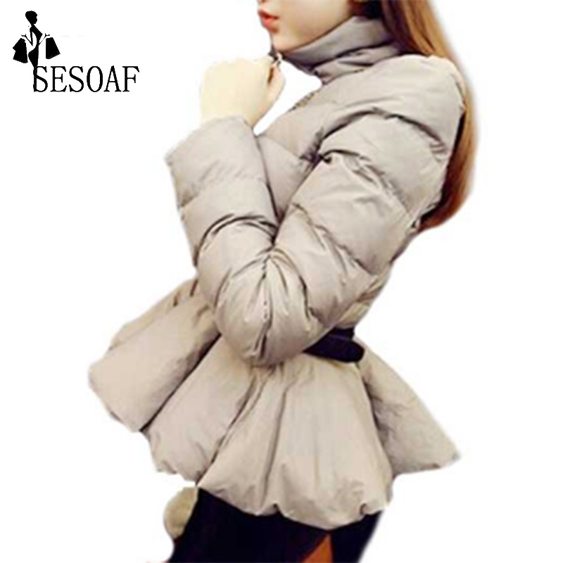 SESOAF New Ruffles Sashes Zippers Long Sleeve Warm Mini Casual Women Winter Outerwear CoatsОдежда и ак�е��уары<br><br><br>Aliexpress