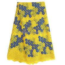 Best Quality African Lace Fabric Yellow Swiss Voile Lace High Quality Emboridery Cotton French Mesh Lace Fabric Material