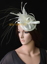 20 colors Cream/ivory sinamay feather fascinator bridal fascinator hair accessory for Kentucky derby and wedding . FREE SHIPPING