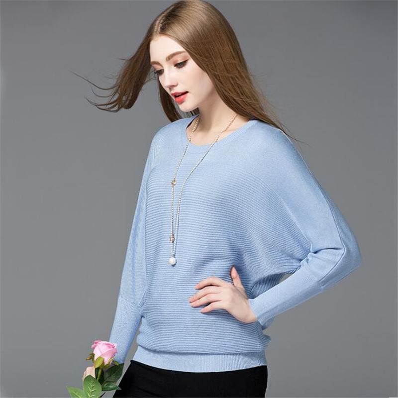 Cotton Women Blouses 2018 Spring Modal Pullover loose Blouse Women O-neck Knitted Blouse Women Batwing sleeve Sweater Shirt