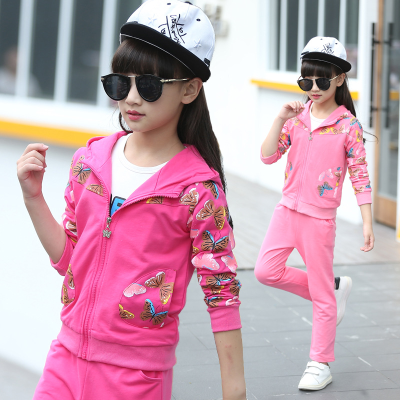 New 2017 Kid Girls Spring Sets Fashion Children Cotton Floral Coat+Pants 2Pcs Hooded Zipper Clothes Sleeves Active Clothing Hot <br><br>Aliexpress