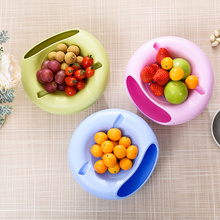 Multifunctional Circular Plastic Double Deck Snacks Food Fruit Storage Box Dish Tabletop Grocerie Storage Plate Organizer