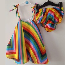 Venta caliente del bebé del arco iris de rayas beach dress y bragas set sling dress con juego blommers girls fashion summer cool kids ropa