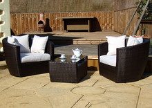 Leisure ways patio 3 pieces garden outdoor gray rattan wicker furniture sofa set