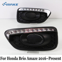 SMRKE DRL For Honda Brio Amaze / RS 2016~2017 / LED Car Daytime Running Light & Yellow Signal Light / Car Styling Fog Lamp Frame(China)