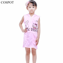 COSPOT Baby Girls Summer Dress Girl Cute Cotton Hooded Sundress Girl's Cotton Dresses 2-8 Years 2017 New Arrival 32D