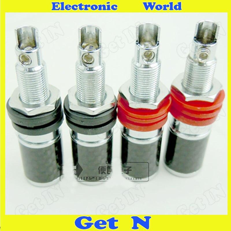 2pcs HI-END Carbon Fiber Copper With Rhodium Connector Speaker Cable Socket Jack Short Version Special Offer<br>
