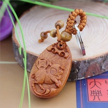 1 pc Hot sale Fashion llaveros animal Carved Wooden KeyRing Pig Key Chain car small Pendant Keychain woodwork porte clef(China)