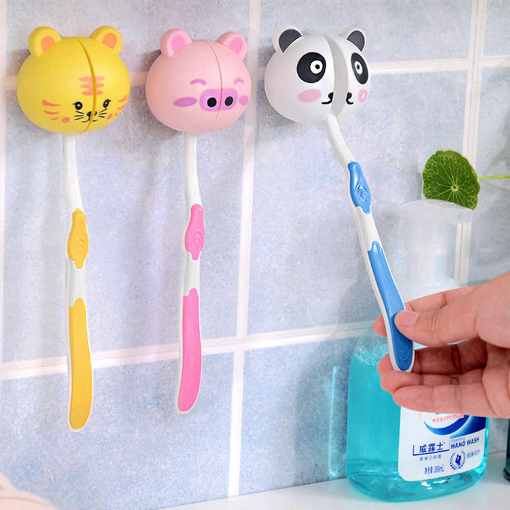 Lovely Cartoon Animal Head Toothbrush Holder Stand Cup Mount Suction Suction Cup Wall Mounted Heavy Duty Suction Cup Hooks
