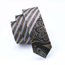 BL-234 2016 Locate Pattern Brown Striped Narrow Classic Skinny Tie Slim Necktie 100% Silk 5.5cm For Men Wedding Party Business(China)